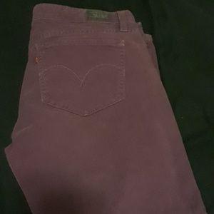 Purple corduroy Levi skinny jeans